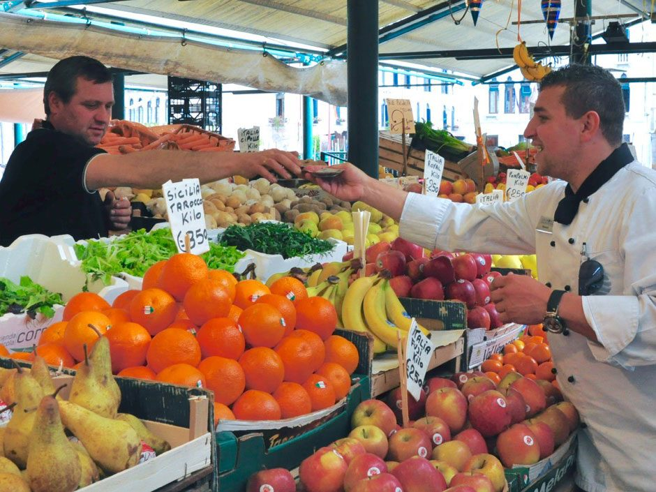 Chef buying market produce