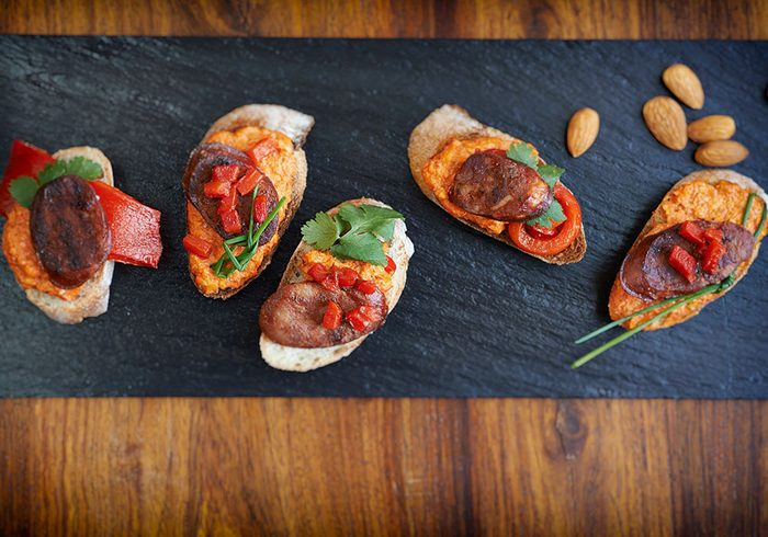 Holiday Chorizo Tapas with Roasted Red Pepper Sauce