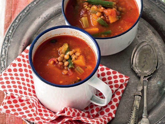 Spicy Lentil Soup with Pumpkin, Tomato and Green Beans