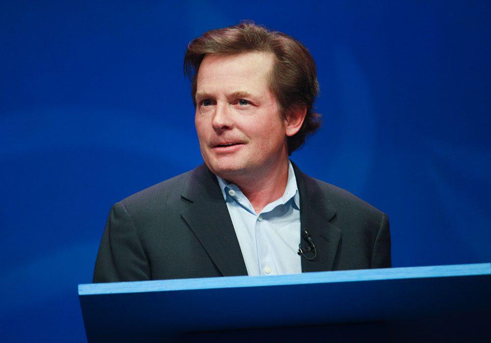 Michael J. Fox making a speech