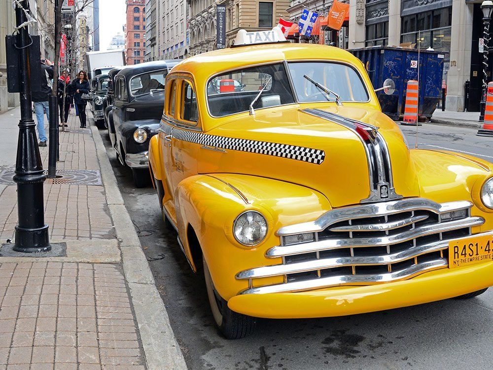 Old yellow taxi cab