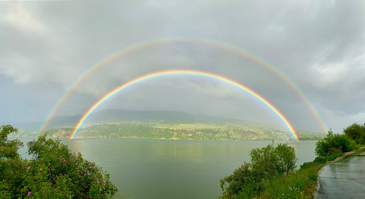 Rainbow photography - double rainbow at Wood Lake