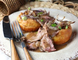 Roast Beef with Peppercorn Wine Sauce and Yorkshire Pudding
