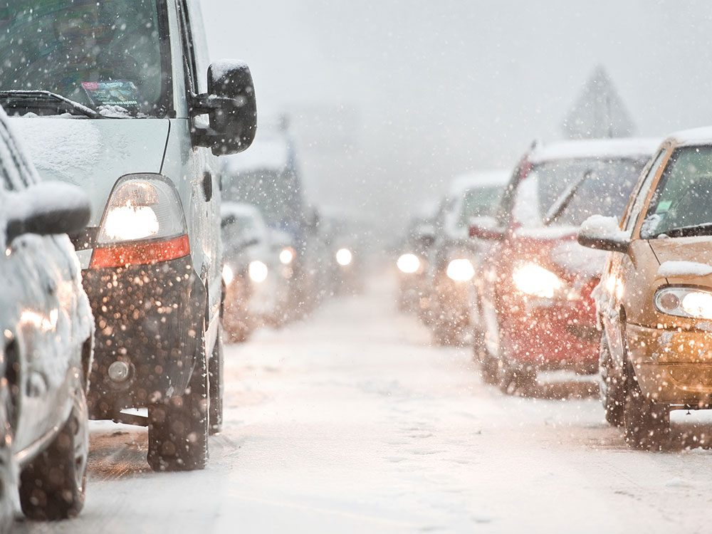 Cars on road during winter