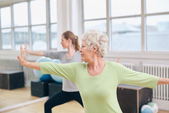 Senior person stretching