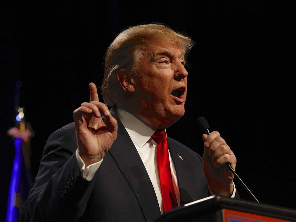 Donald Trump speaking at campaign event in 2015