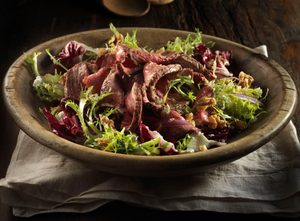 Beef with Baby Greens Salad and Horseradish Vinaigrette