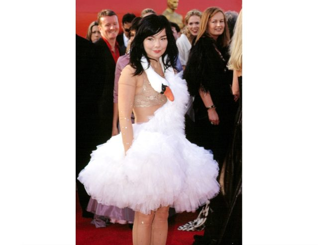 Björk wearing a swan dress