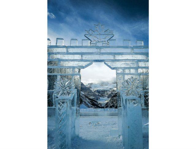 Ice castle on Lake Louise, Alberta