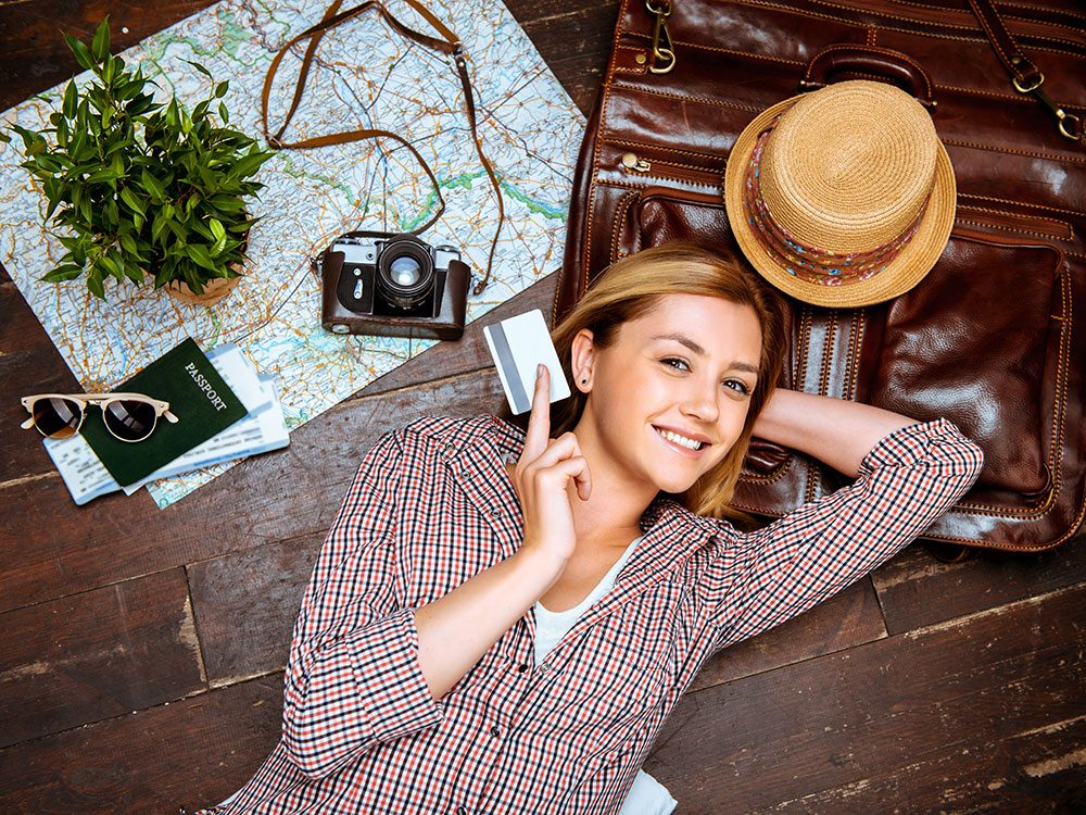 Girl travelling with credit card