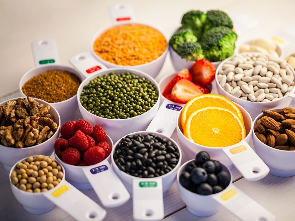 Mixture of fruits, vegetables and nuts