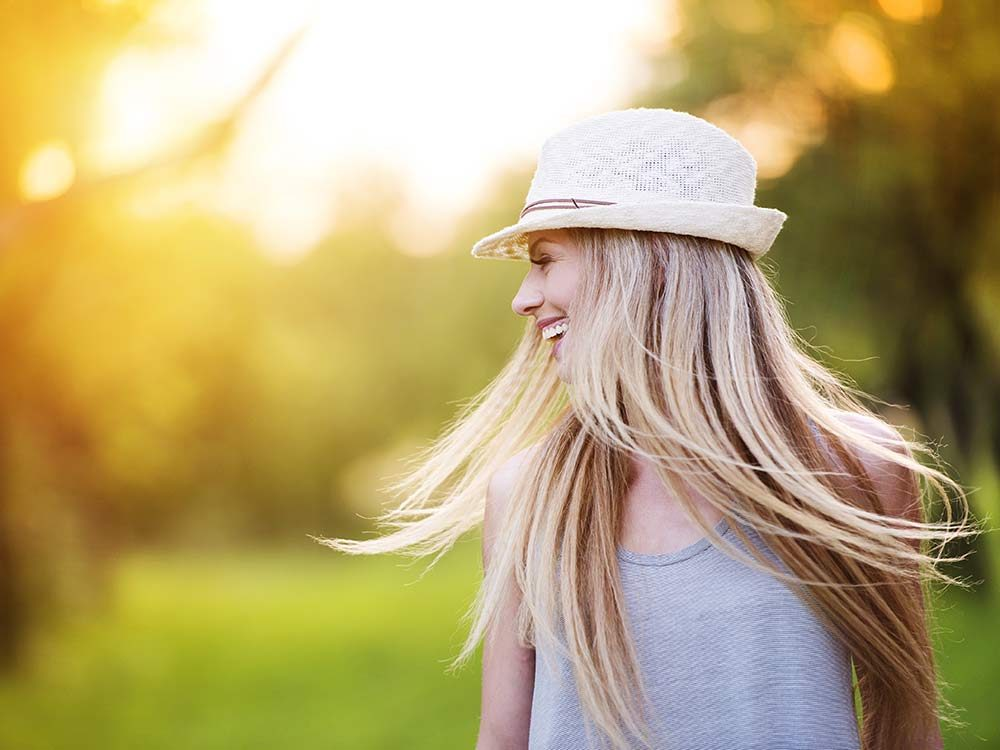 Woman with long hair down