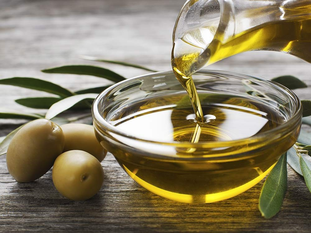 Olive oil in clear bowl