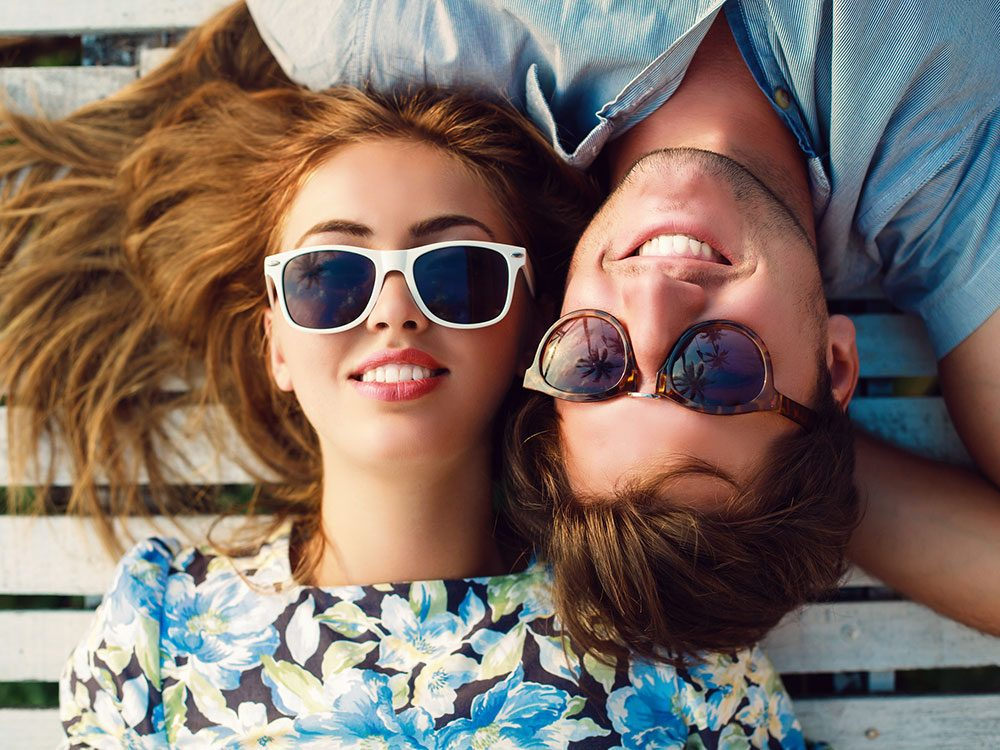 Man and woman in sunglasses