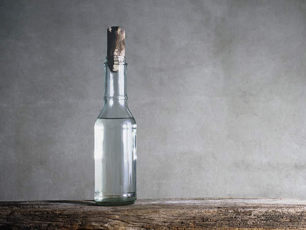 Vinegar in clear bottle