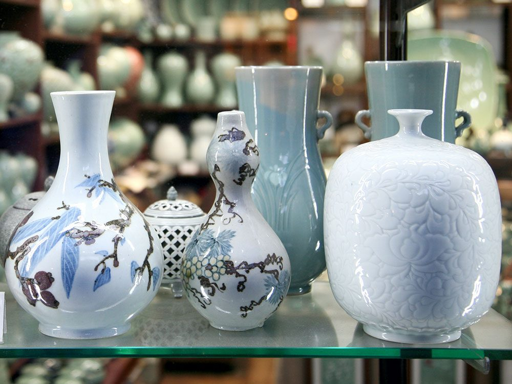 Ceramic vases on display