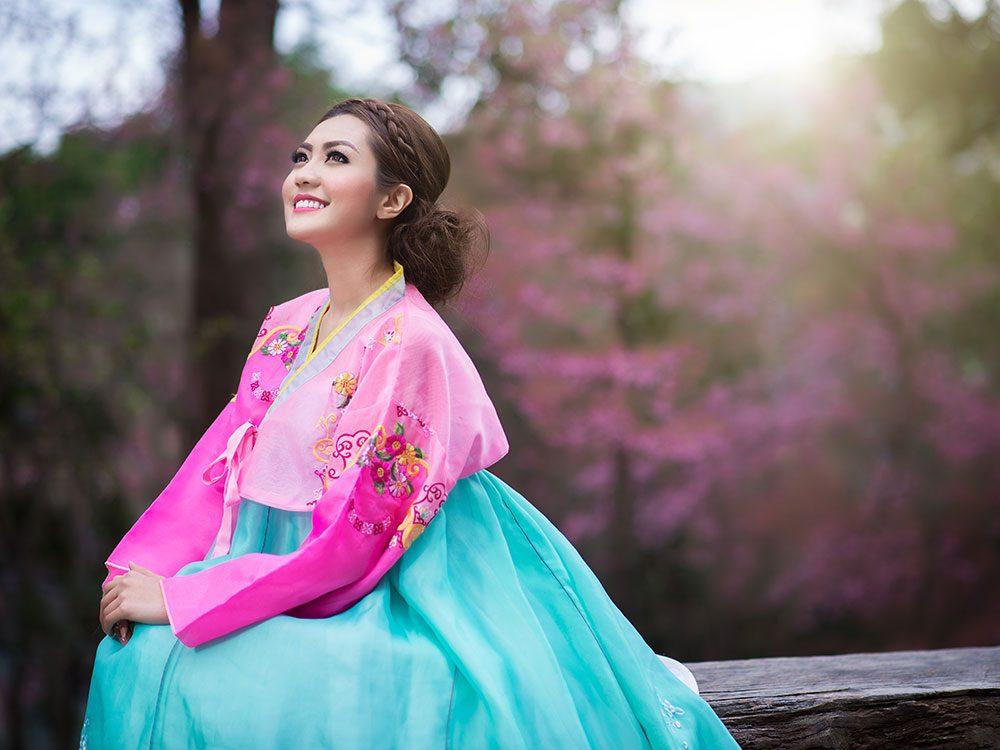 Korean woman wearing traditional hanbok