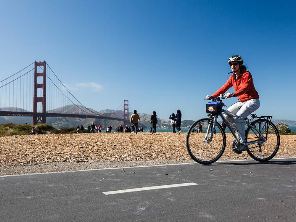 Woman bicycling in San Francisco