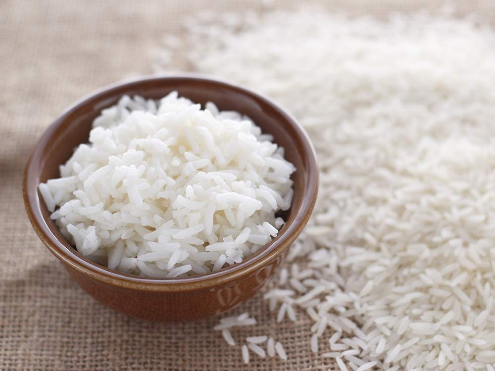 White rice in wooden bowl