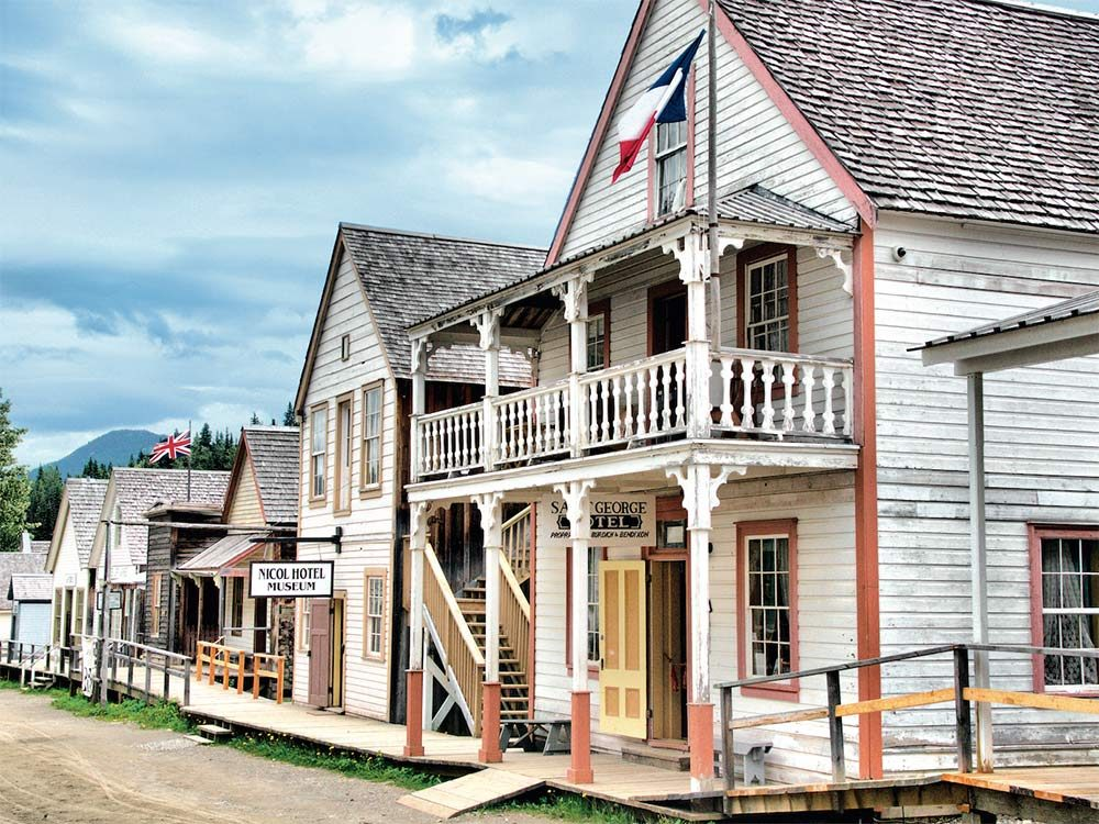 Well-preserved buildings line the main street of Barkerville