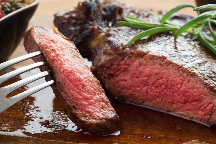 Beef steak cooked medium rare