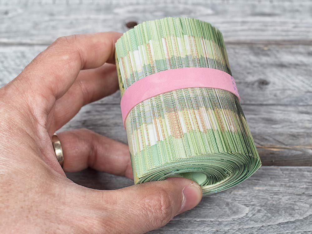 Stack of Canadian $20 bills