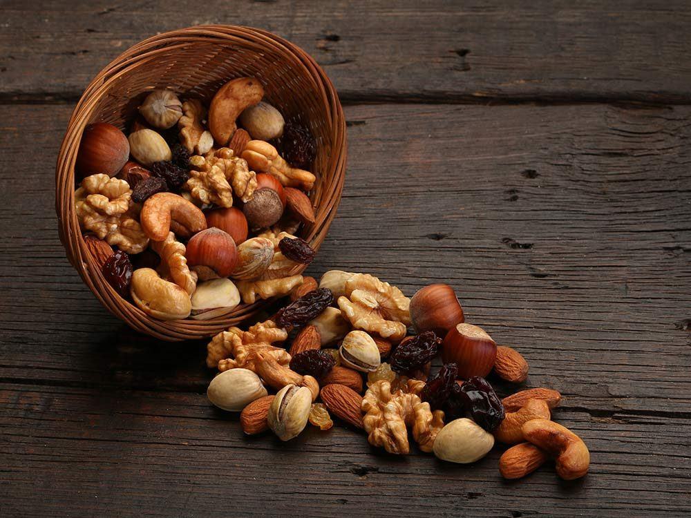 Assorted nuts in a bowl