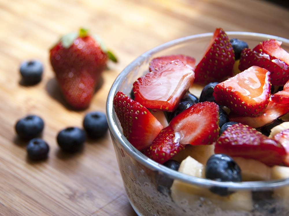 Mixed berries and bananas in bowl