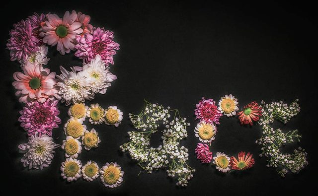 Handmade sign made with flowers