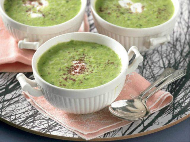 Frozen pea soup in ramekins
