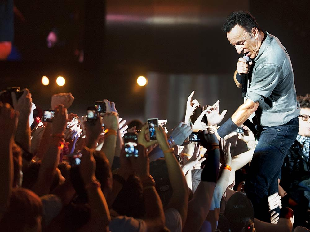 Bruce Springsteen performing in Brazil