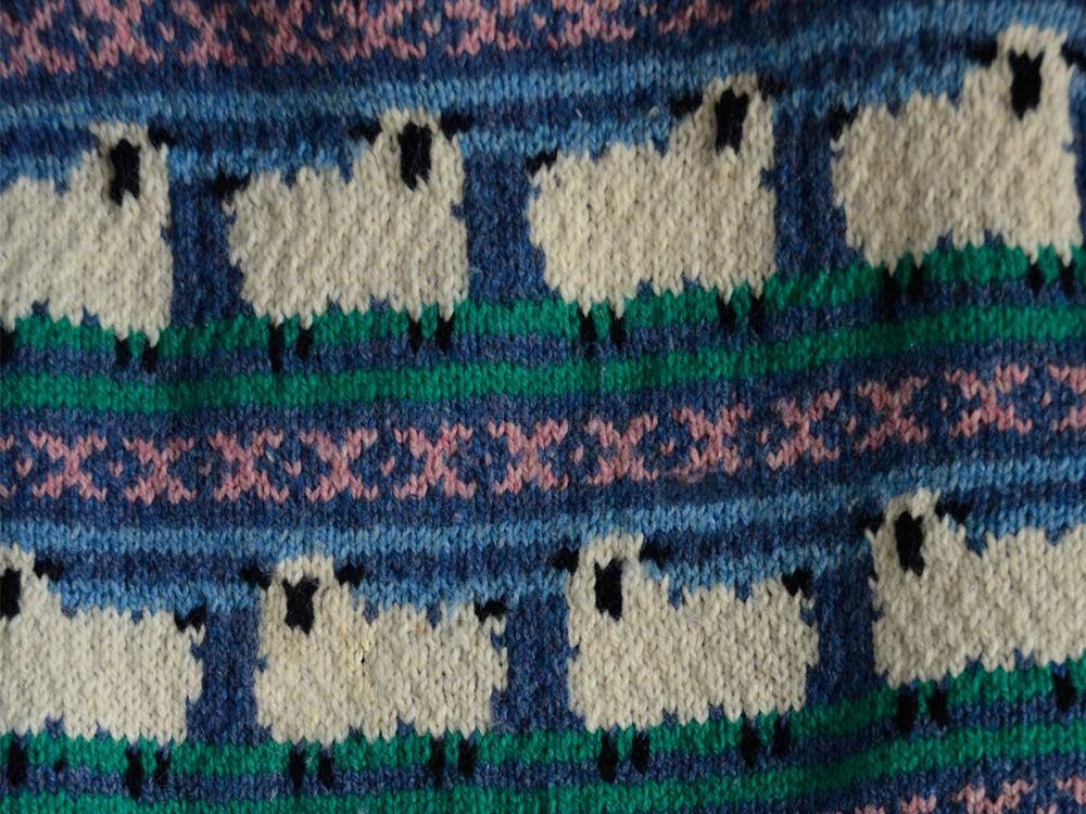 Wool sweater with sheep design