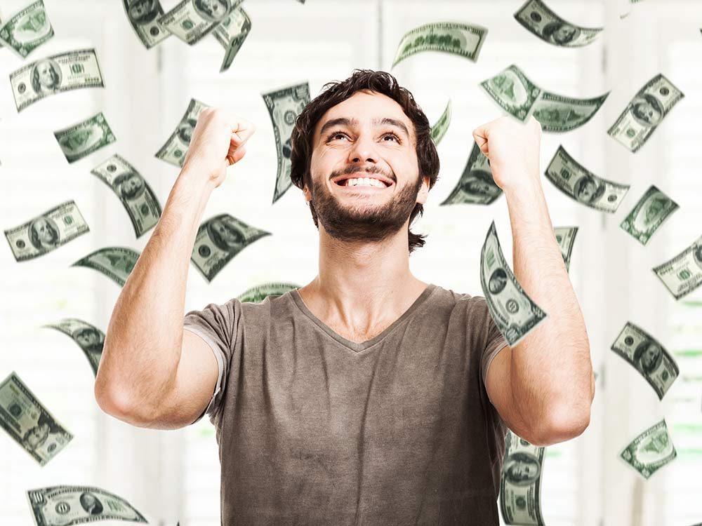 Man winning lottery