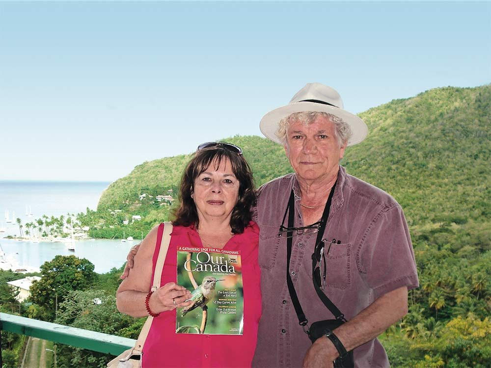Couple poses in St. Lucia