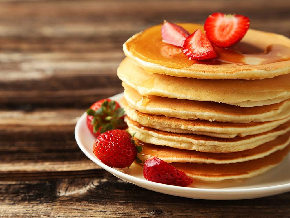 Pancakes with strawberry toppings