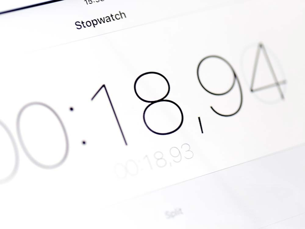 Stopwatch app on iPhone