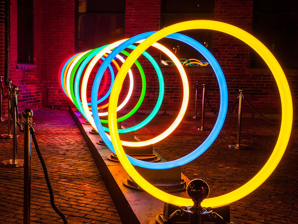 Illuminated loops at Toronto Light Festival