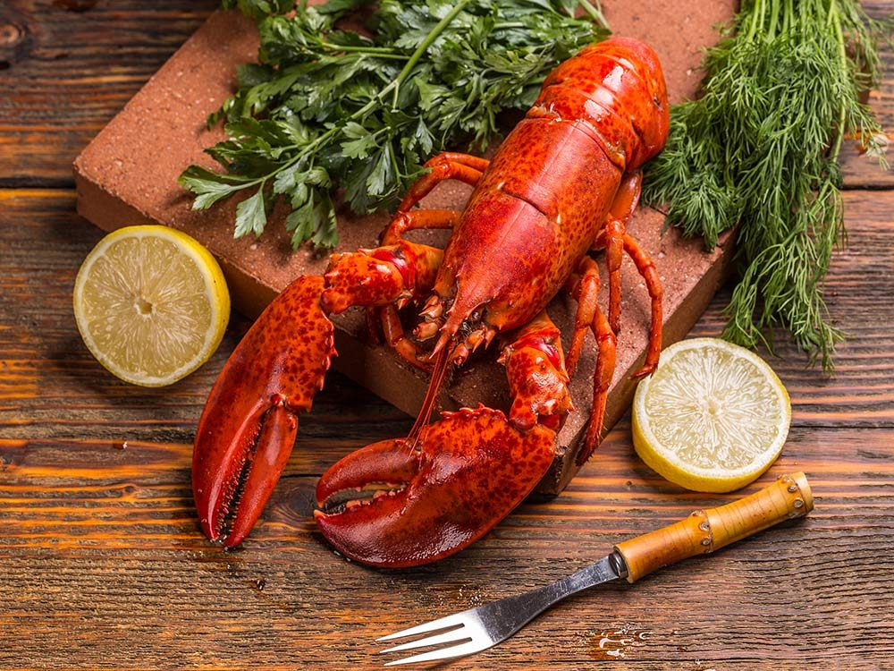 Lobster on wooden board