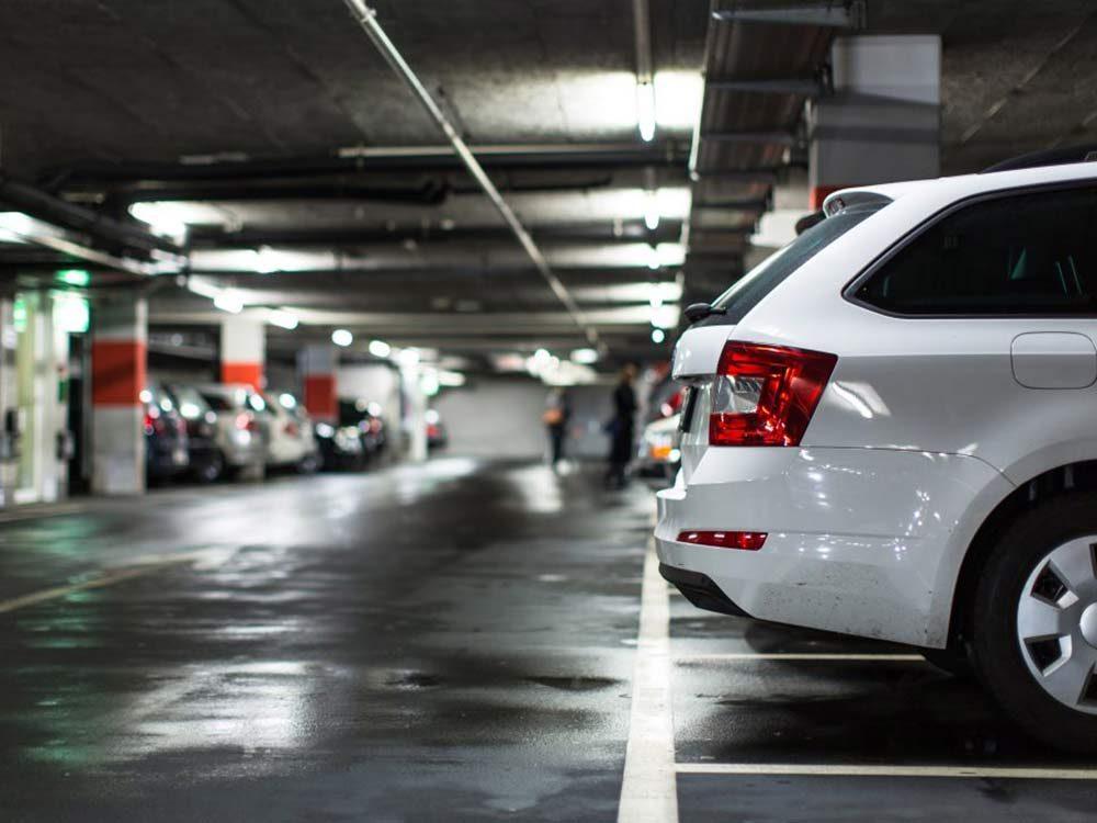 SUV in underground parking lot