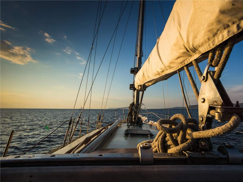 Sailing on a yacht in the open sea