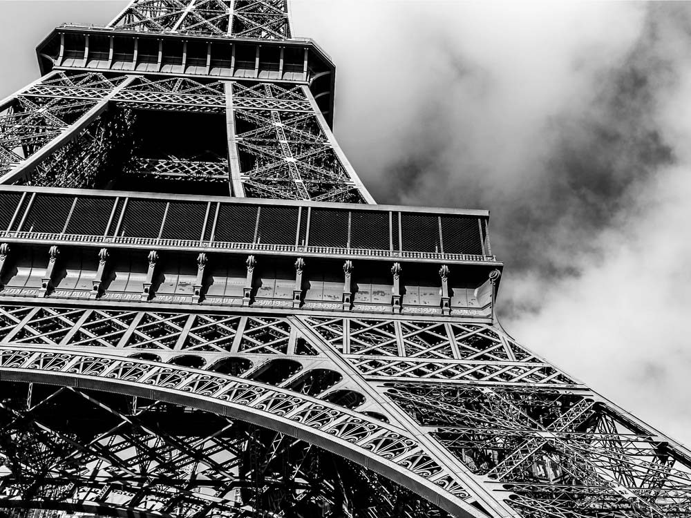 Eiffel Tower photographed in black-and-white