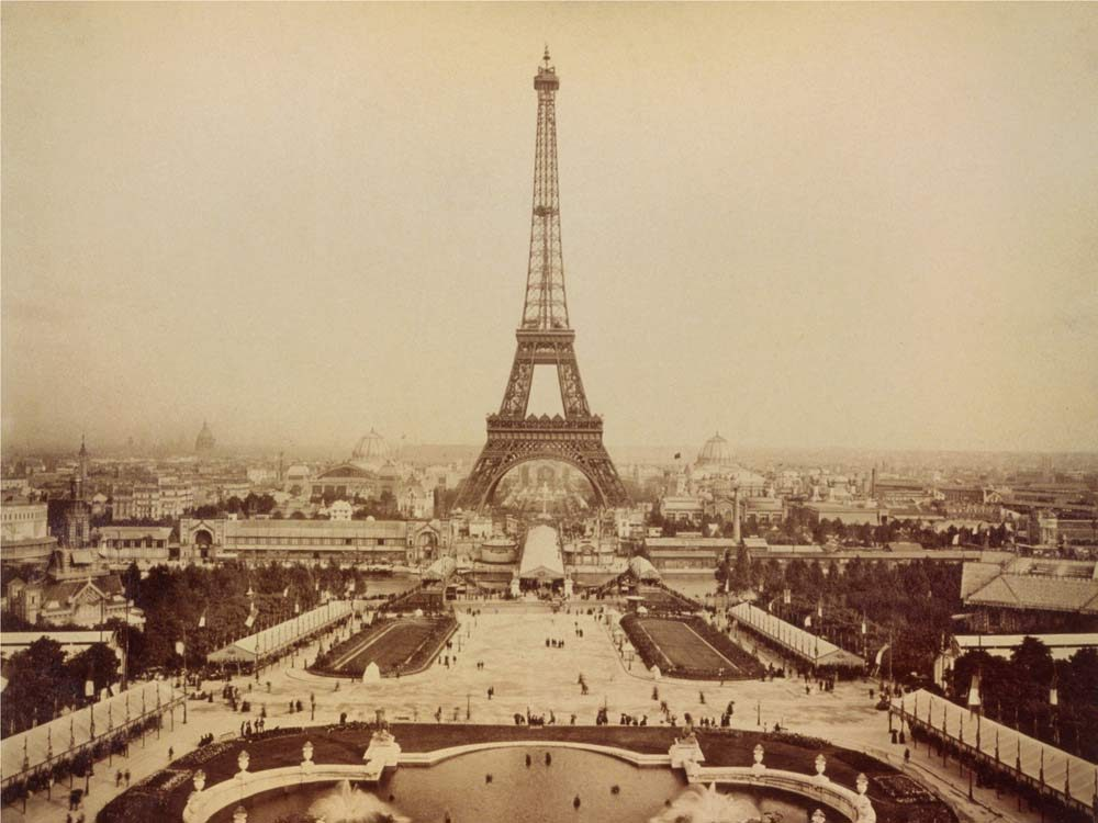 Photo of the Eiffel Tower taken during the 19th century