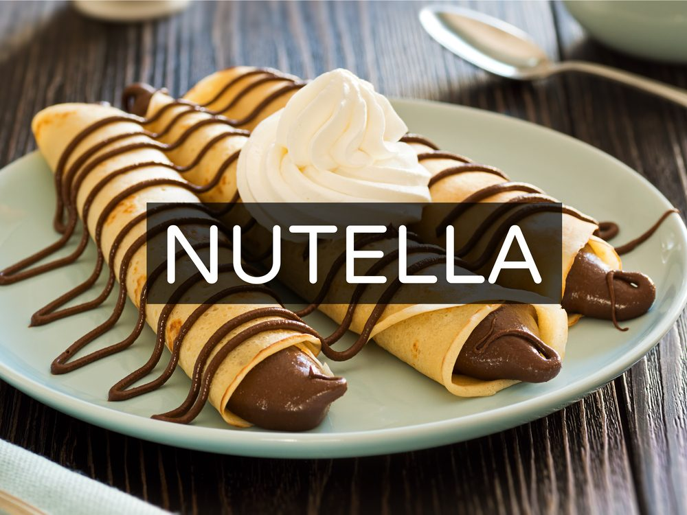Nutella crepes with whipped cream