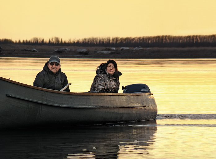 Chrstie Anna Rickard with her husband in Moosonee, Ontario