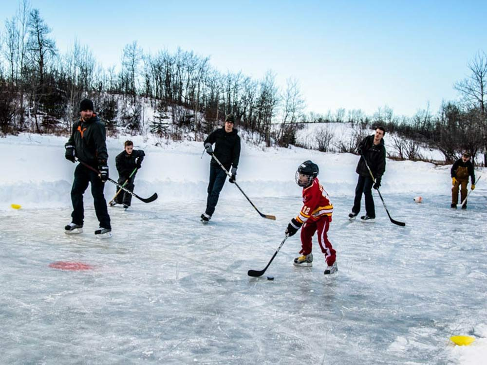 Hockey game on a frozen pond