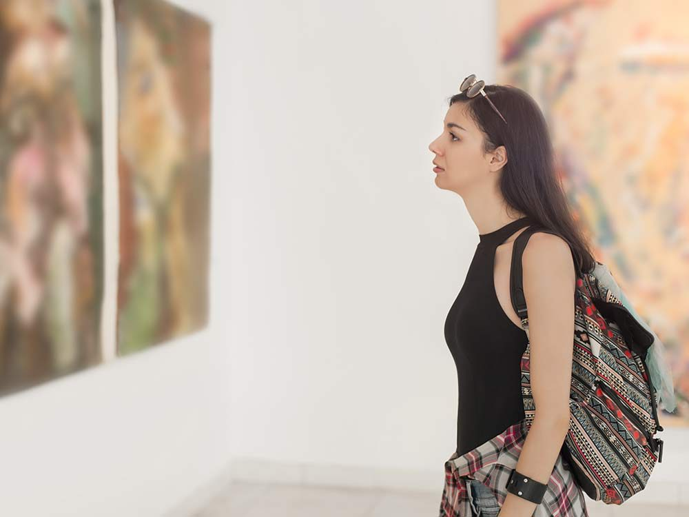 Attractive woman at art gallery