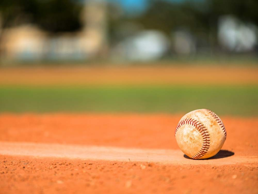 Baseball on the mound