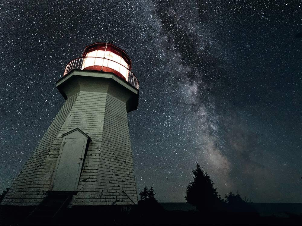 Slate Island Lighthouse with the Milky Way galaxy
