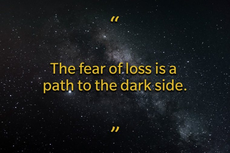 Star Wars quotes - the fear of loss is a path to the dark side