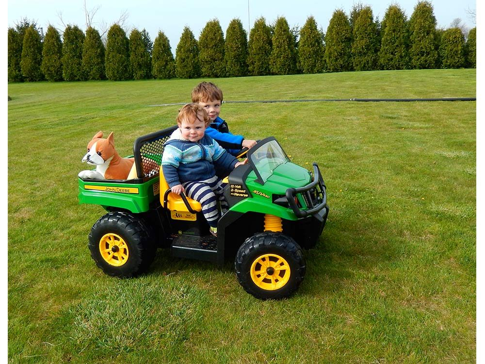 Kids playing in toy truck